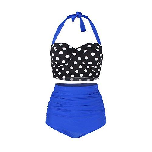 887d9526b54752 FeelinGirl Bikini Tankini 50er Damen Retro Vintage Bikini Sets High Waist  Bademode Badeanzug Neckholder Swimsuit