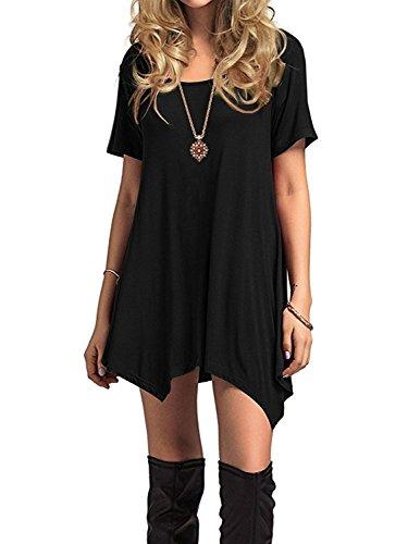 Azue Damen Sommerkleider Kurzarm Kleider Casual T-Shirt Kleid Loose Fit für  Alltag c81c75c38d