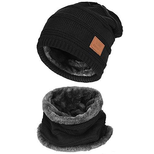 d035bd9040a736 Vbiger Wintermütze Strickmütze Warme Beanie Winter Mütze und Schal mit  Fleecefutter für Damen und Herren,S-schwarz+,Einheitsgröße